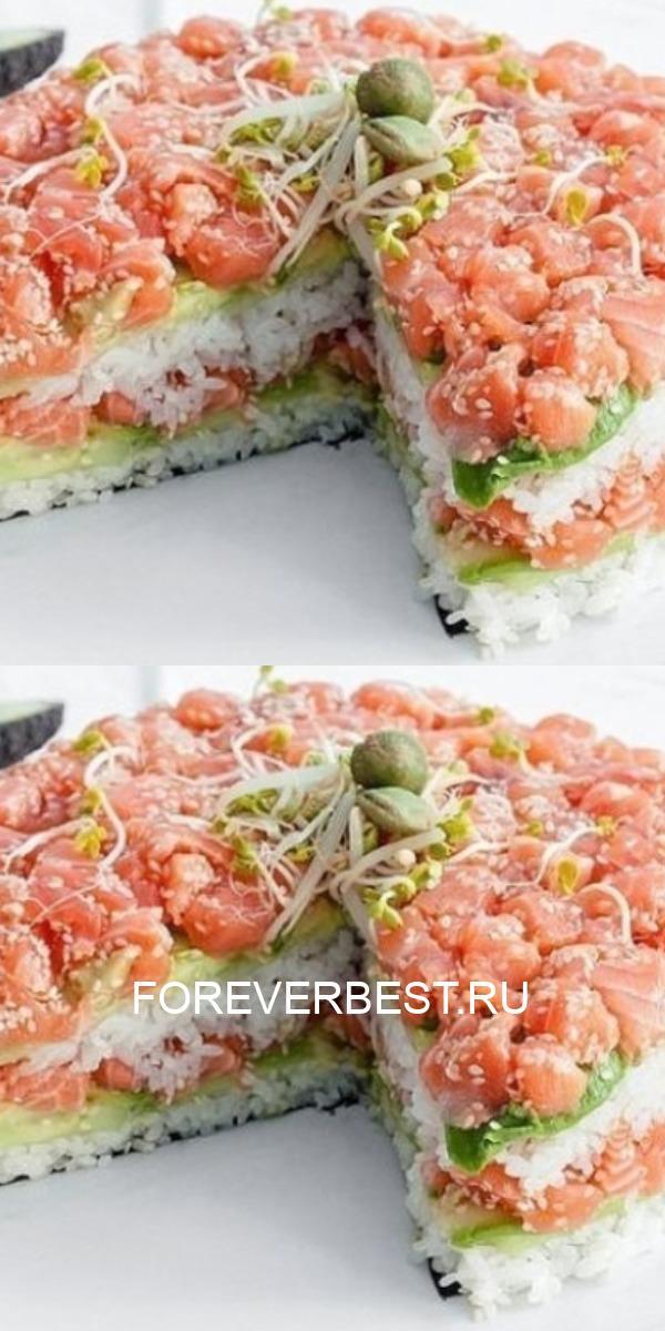 Сытный и оригинальный салат «Суши» — лучшее украшение стола.